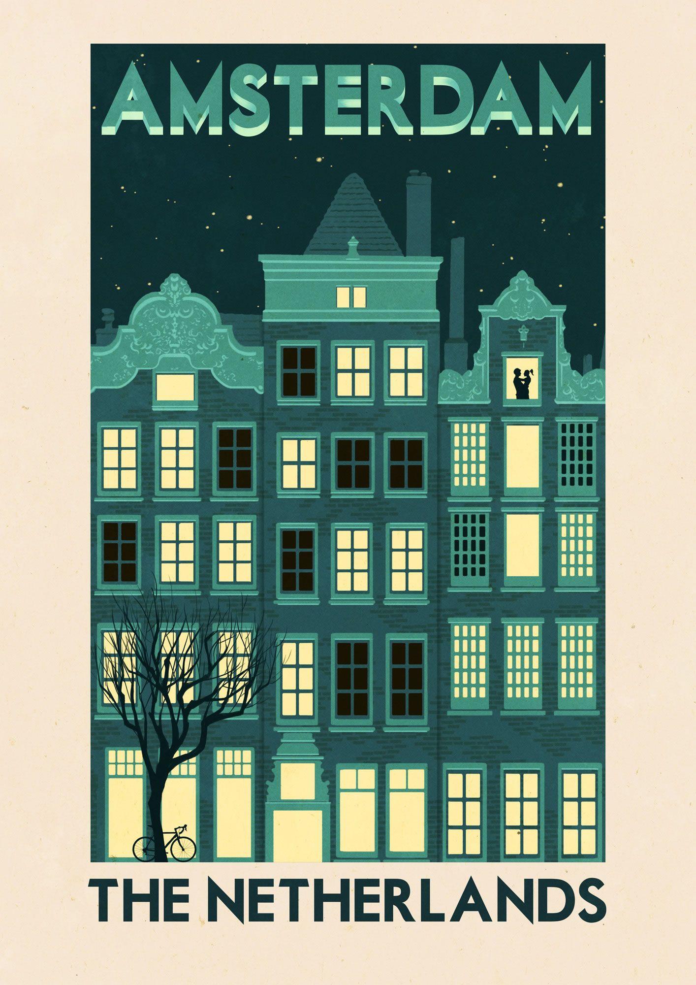 Rui Ricardo: Amsterdam - Travel Nursery Poster