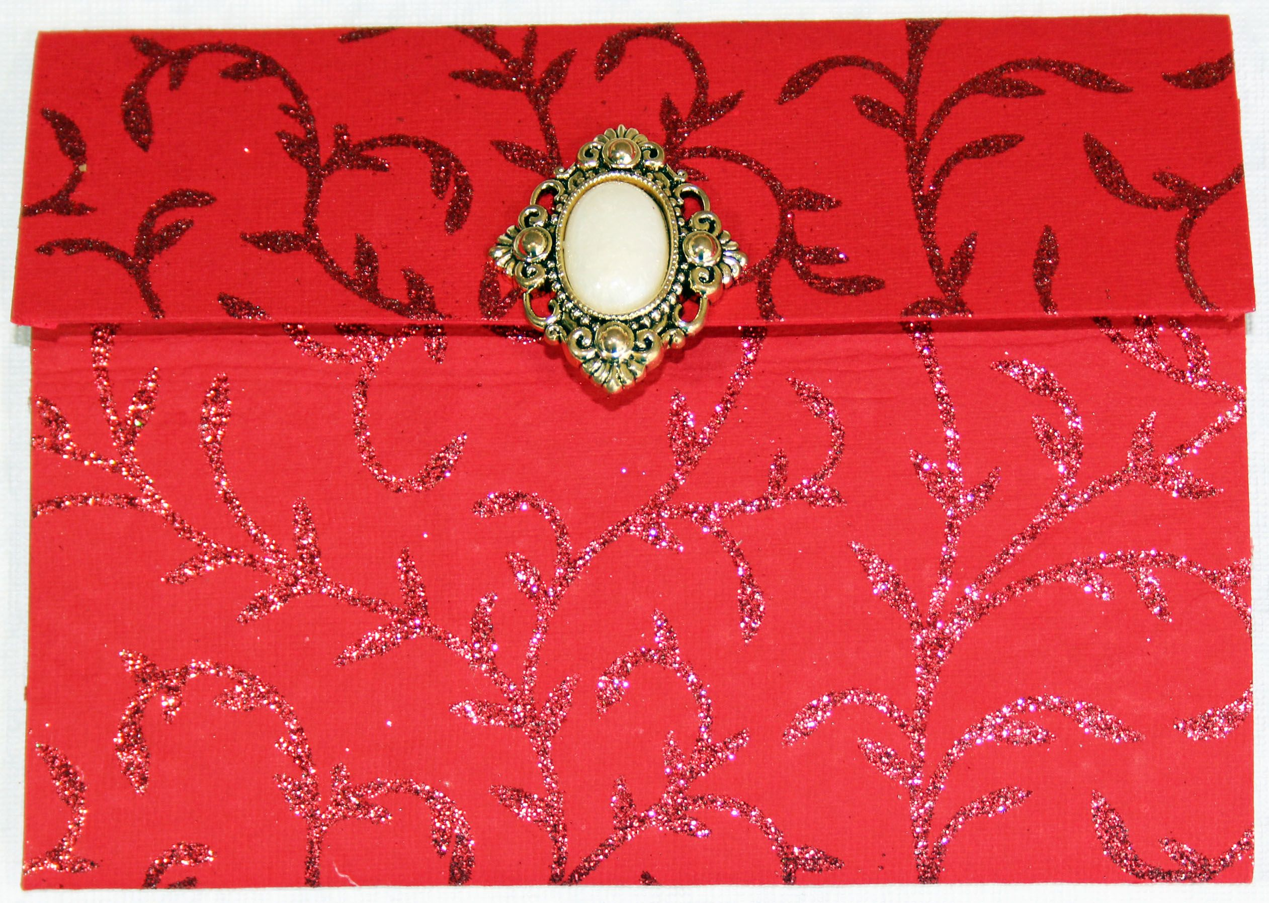 red glitter accented pocket fold invitation with large embellishment ...