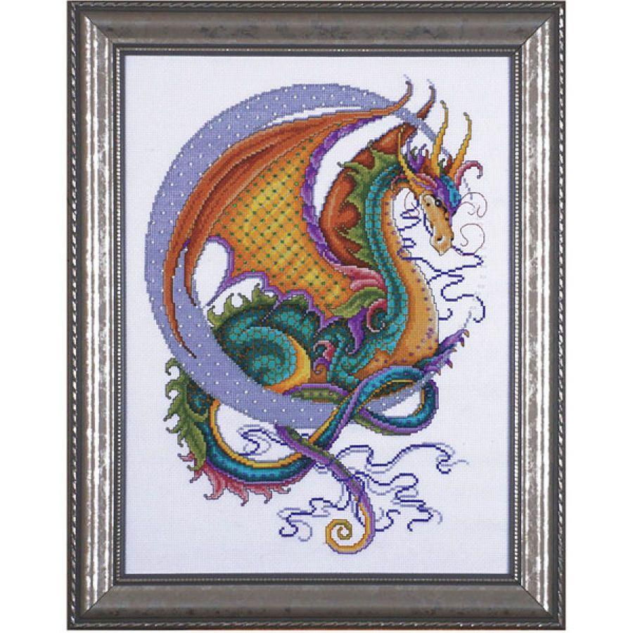 Celestial dragon cross stitch needlepoint stitchery