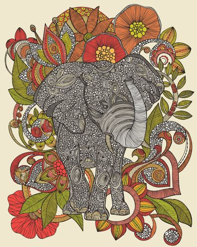 Elephant print---if you could make the red color blue, and brighten the green...this would look so pretty in your room..blown up