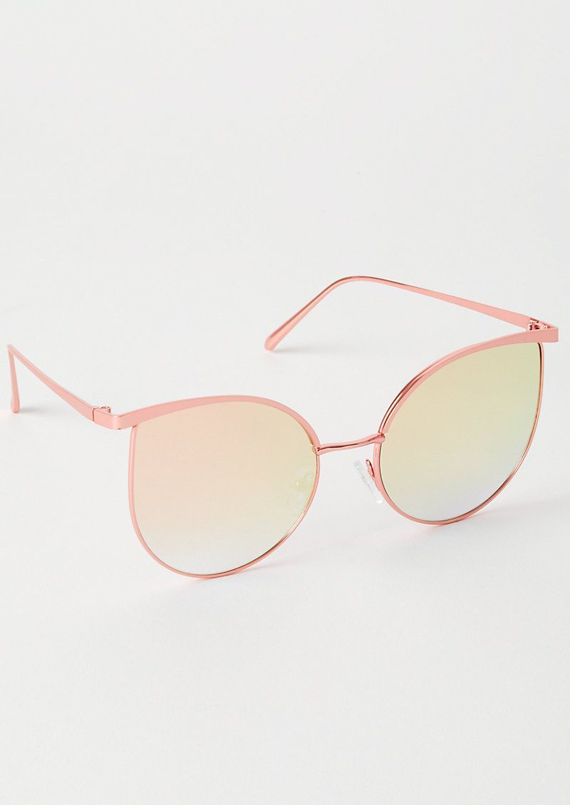 Photo of Rose Gold Mirrored Oversized Cat Eye Sunglasses – Rose Gold Reflected …
