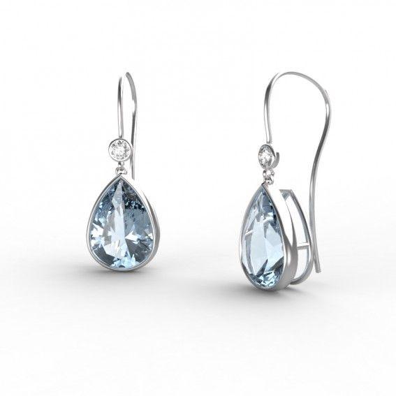 Style magnifique extrêmement unique chaussures pour pas cher Boucles d'oreilles Or blanc 18 cts Aigue-marine et Diamants ...