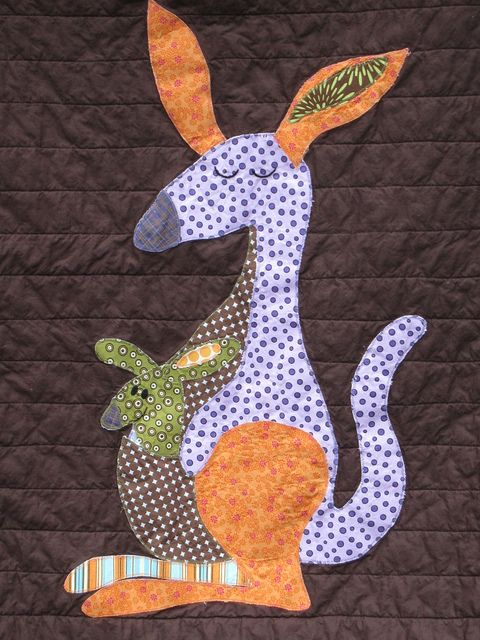 Kangaroo Applique Animal Crafts Baby Applique Baby Quilt