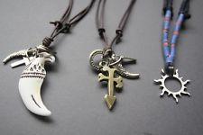 3 cânhamo surfista Metal Necklace colar masculinos de couro novo