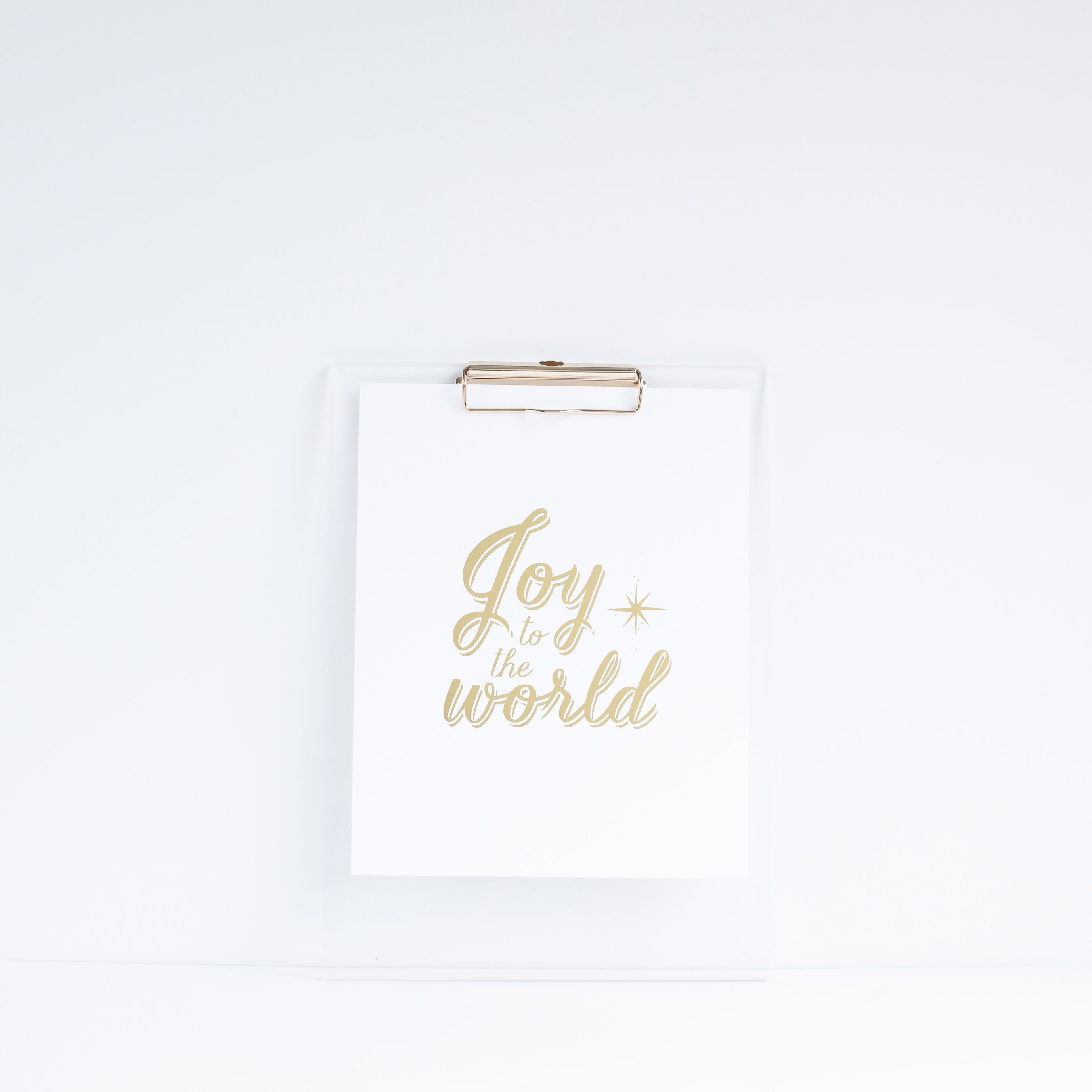 JOY TO THE WORLD gold foil holiday print onto bright white stock | b is for bonnie shop | photography by Shay Cochrane Photography