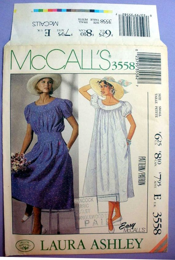 McCall\'s 3558 Laura Ashley Dress Sewing Pattern, Pullover, Gathered ...