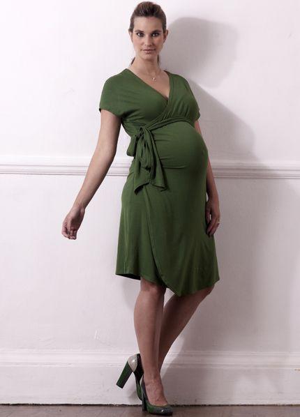 Maternity Dress Topshop Soft Drape Midi Khaki Sage Green Pregnancy 8 /& 10