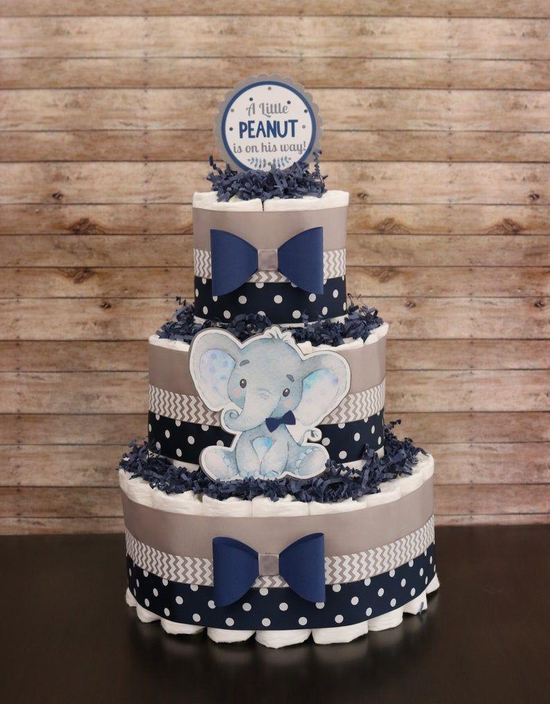 Elephant Baby Shower Sheet Cake : elephant, shower, sheet, SALE!!, Little, Peanut, Shower,, Elephant, Diaper, Cake,, Peanut,, Boys,, Gray,