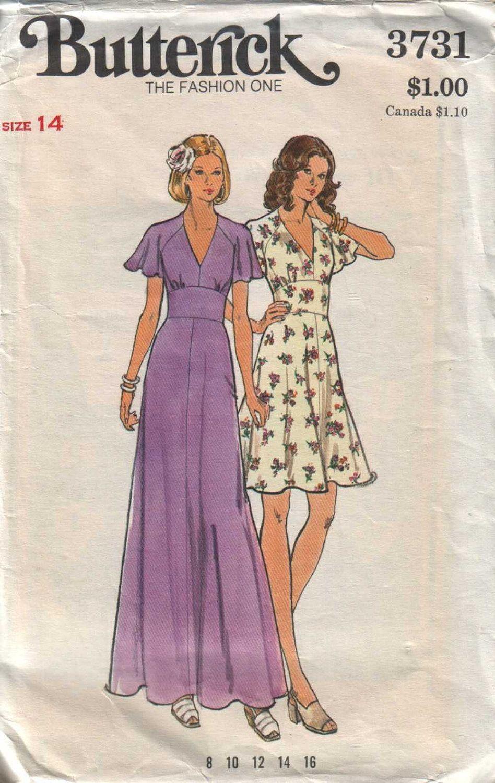 butterick 3731, vintage 70s dress pattern, size 14, bust