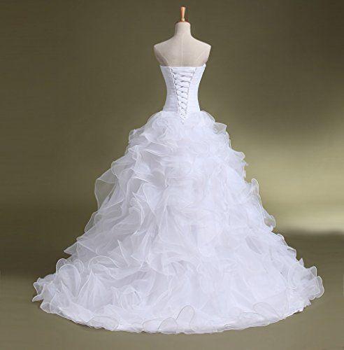 Bridal Mall Women S Organza Sweetheart Neckline Cascading Ruched Wedding Dress Clothing Clo Ruched Wedding Dress Wedding Dress Train Womens Wedding Dresses