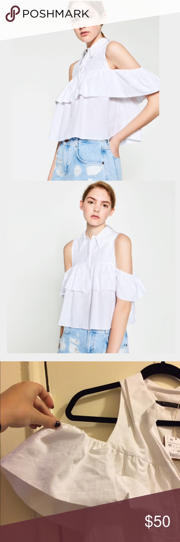fab12030d3330 Frilled cut out shoulder top form Zara! HP✨✨✨✨✨ White button down with a  modern twist!! Ruffled sleeve with cold shoulder detailing! Zara Tops