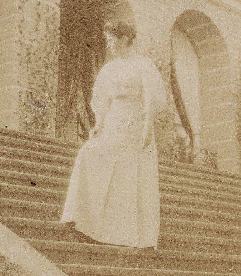 Empress Alexandra Feodorovna Romanova of Russia at Ropsha Palace in 1910.