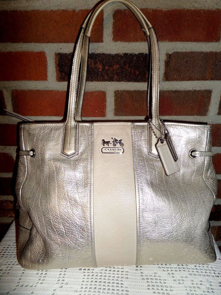 coach chelsea signature stripe gold metallic leather charlie tote rh pinterest com
