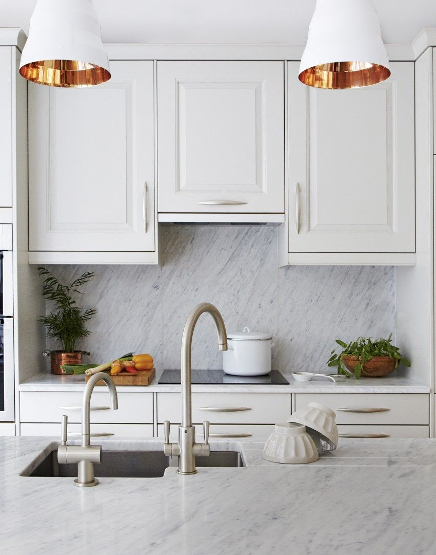 white traditional kitchen copper. White Traditional Kitchen With Copper-lined Pendant Lights Copper I