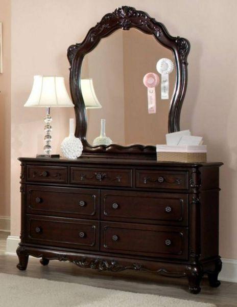 Cherry Wood Dresser And Mirror