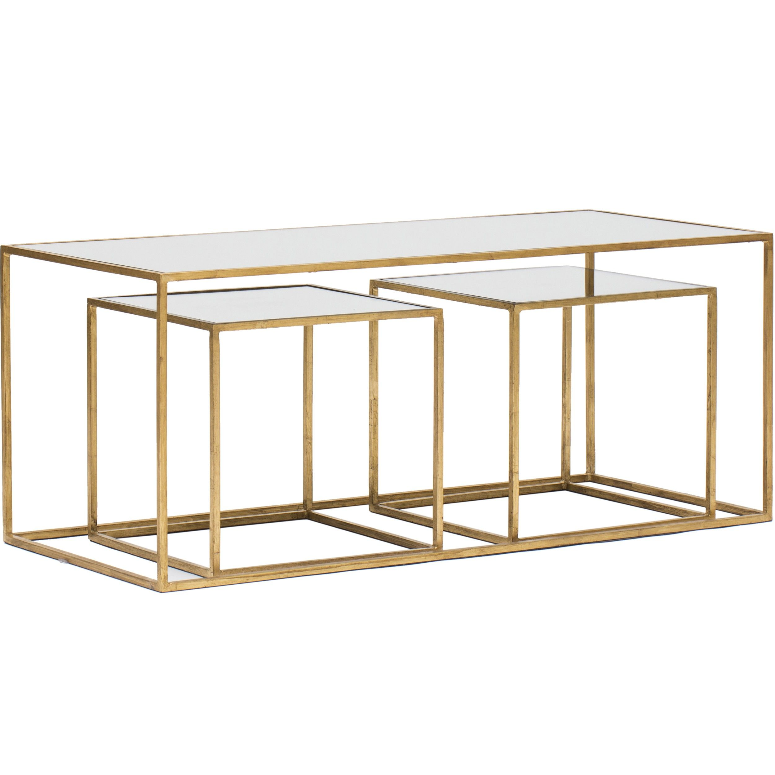 Awesome 3 Pieces Mirrored Coffee Table With Simple Brushed Gold Base Frames  For Modern Furniture Living Designs