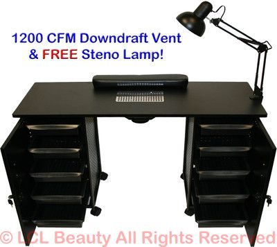 Vented Manicure Nail Table Station Black Steel Frame