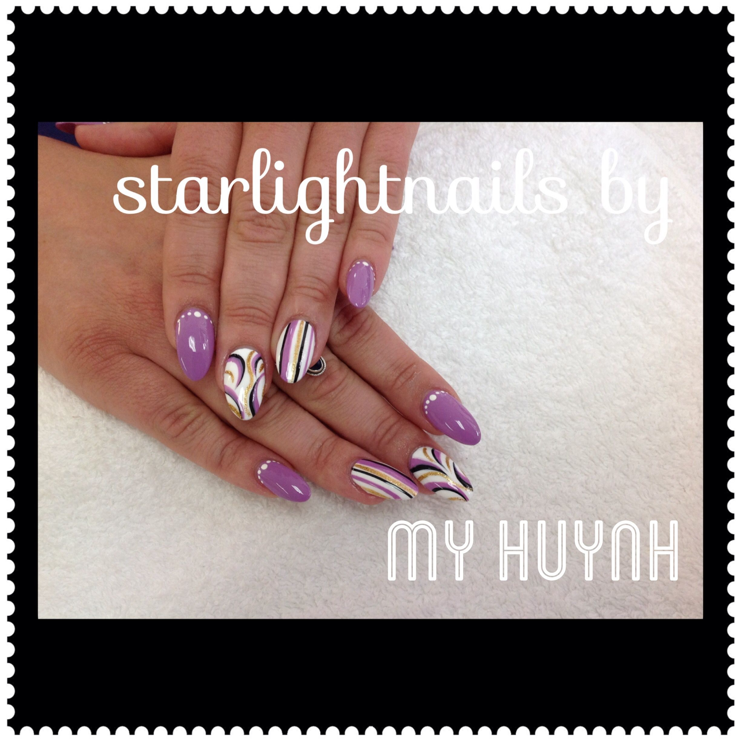 Point nail with purple color free style