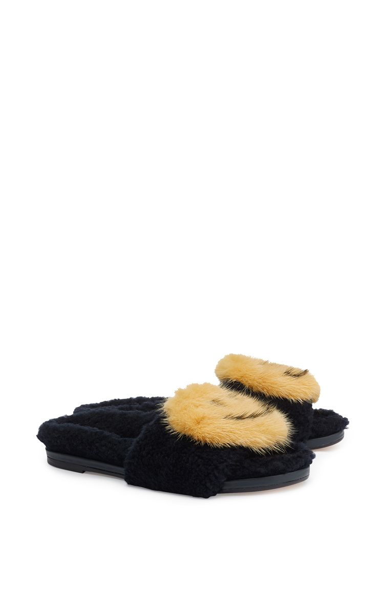 Anya Hindmarch Smiley Mink-Trimmed Sandals clearance low cost cheap price factory outlet high quality cheap price gvbWn