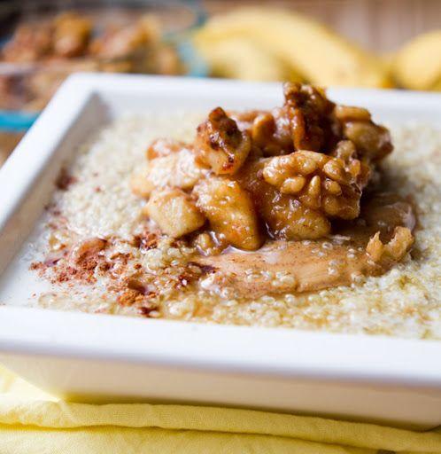 Sticky Banana Bread Quinoa Breakfast Bowl