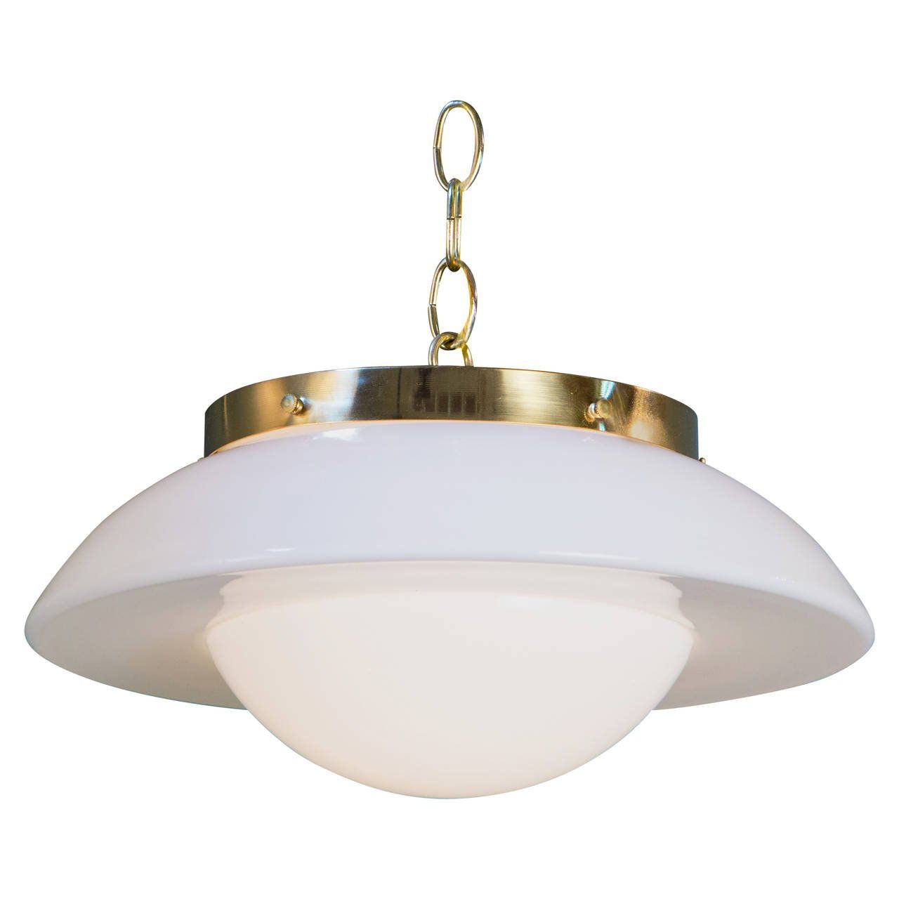 For On Interesting Vintage Milk Glass Shade As Pendant With Brass Hardware From Germany Circa Newly Rewired In The Us All Ul Approved Parts