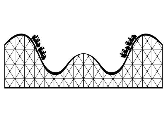 Roller Coaster Large Vinyl Wall Decal Roller Coaster Drawing Coaster Art Roller Coaster