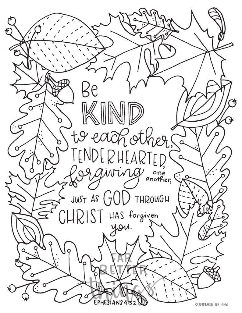 Bible Verse Coloring Page Ephesians 4 32 Printable Digital Download Bible Colo Bible Verse Coloring Page Bible Coloring Pages Sunday School Coloring Pages