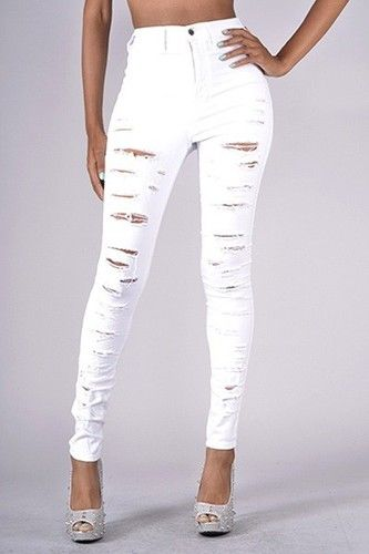 white distressed skinny jeans - Jean Yu Beauty