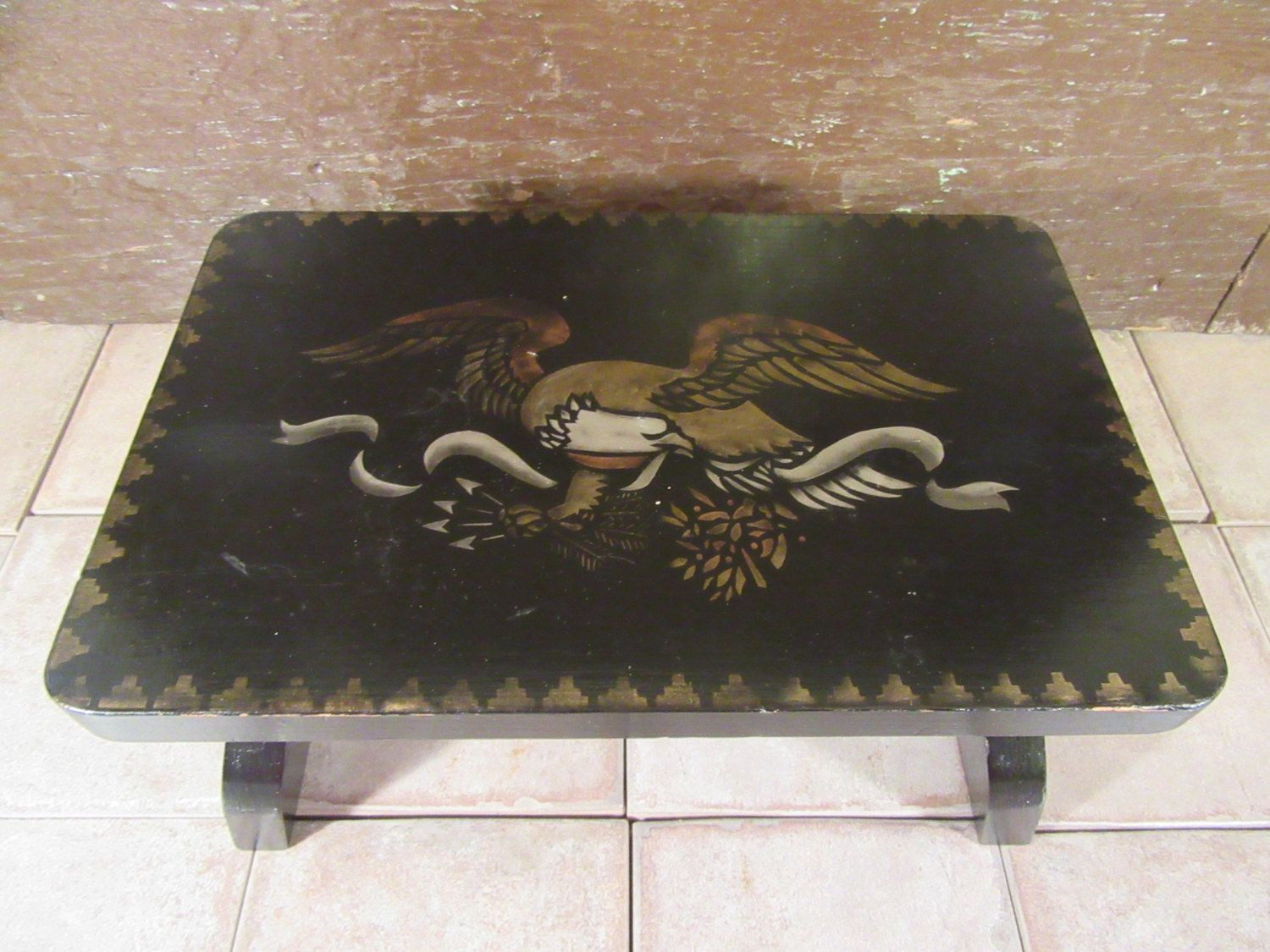 Brilliant Wood Foot Stool With Hand Panted Eagle And Gold Trim Dailytribune Chair Design For Home Dailytribuneorg