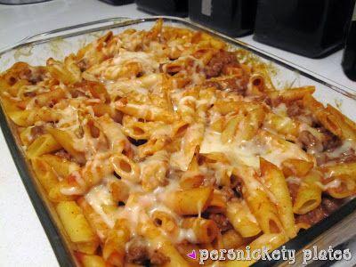 Baked Mostaccioli With Marinara Alfredo Sauce Persnickety Plates Baked Mostaccioli Mostaccioli Pasta Dishes
