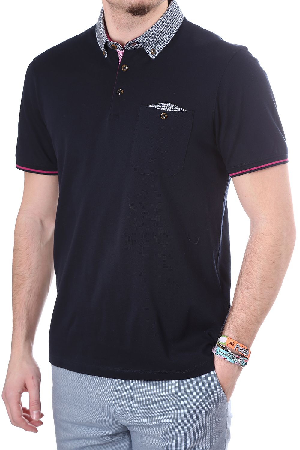 d3bcbfc0efa71f Ted Baker Mens Beevar woven collar polo https   www.blueberries-online