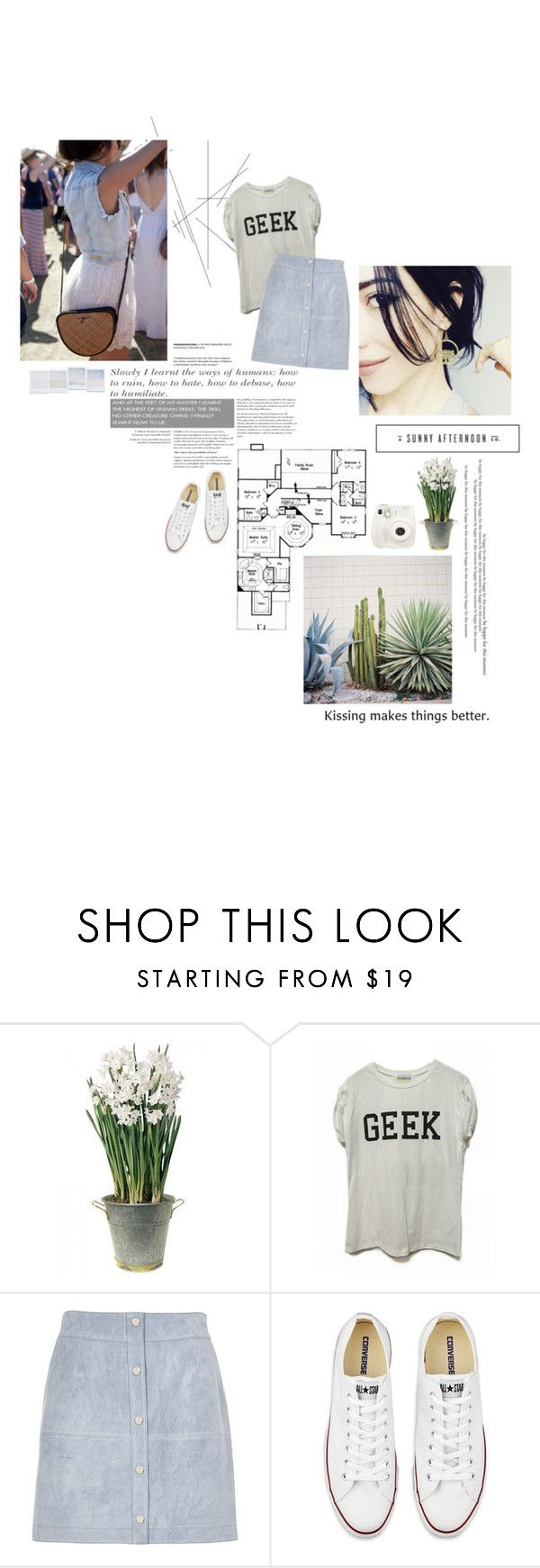"""""""Sunny afternoon."""" by sarahstardom ❤ liked on Polyvore featuring Home Source International, BULB, Free People, River Island, Fuji, Holga, Converse, women's clothing, women and female"""