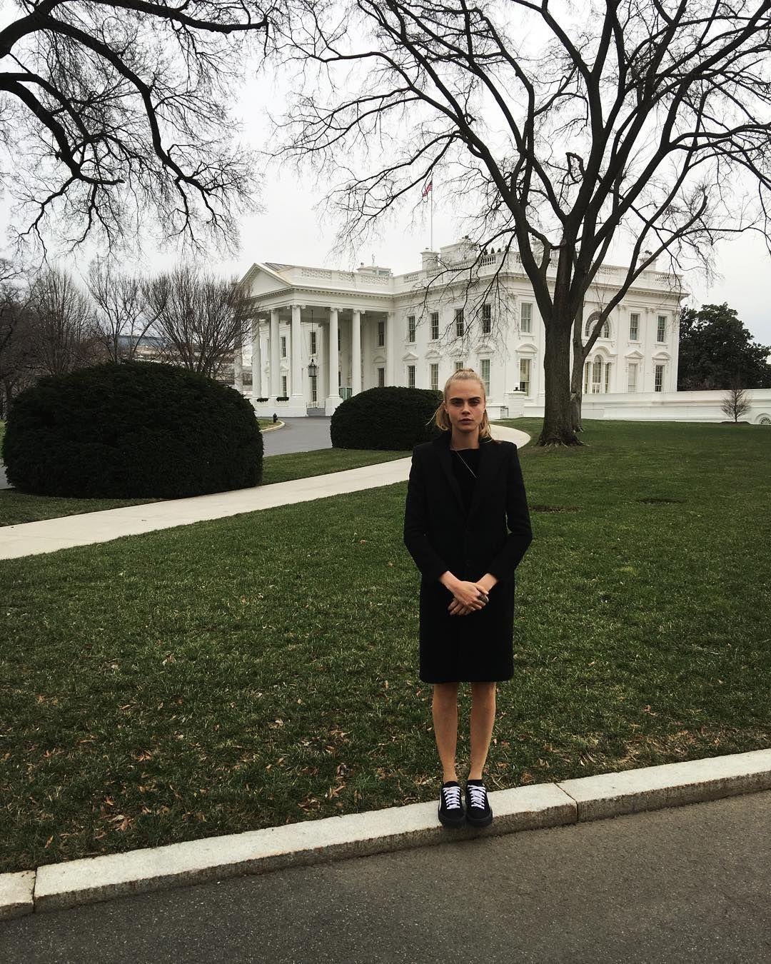 Cara: Hello White House! #timetolookserious #caradelevingne #fashionicon