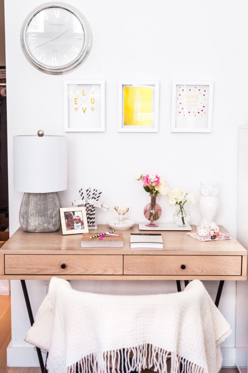 #office    Read More: http://www.stylemepretty.com/living/2015/02/24/creating-a-girly-and-glam-workspace/
