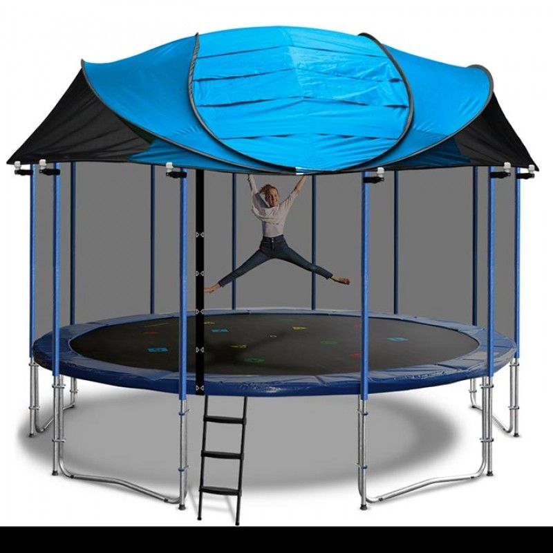 New Universal Blue Trampoline Canopy Roof With Dome Poles For