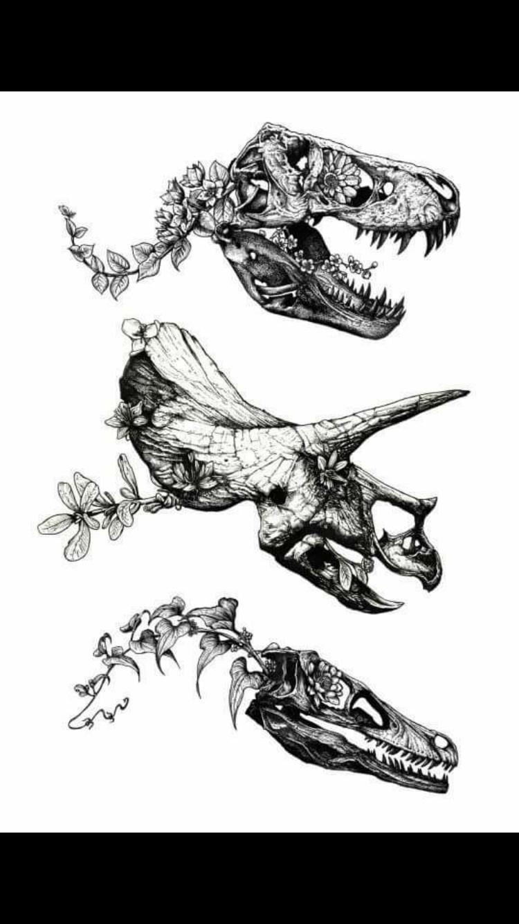 Dinosaur fossil tattoo | Girls with sleeve tattoos, Tree ...