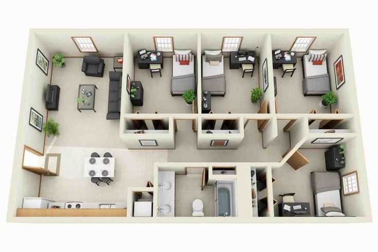 Luxury Apartment Plans 3d Contemporary 3d Floor Plans Imanada