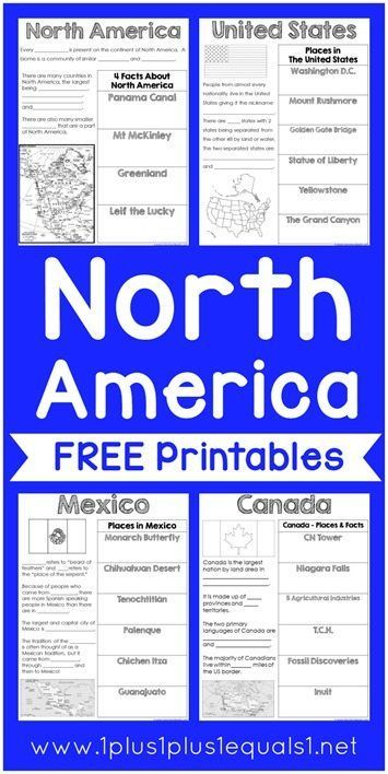 Free North America Printables Geography Lessons Geography For
