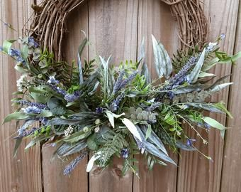 Photo of Front Door Wreath, Modern Farmhouse, Greens Wreath, Greenery Wreath, Mixed Eucalyptus wreath, Farmhouse Wreath for Front Door, Porch Wreath