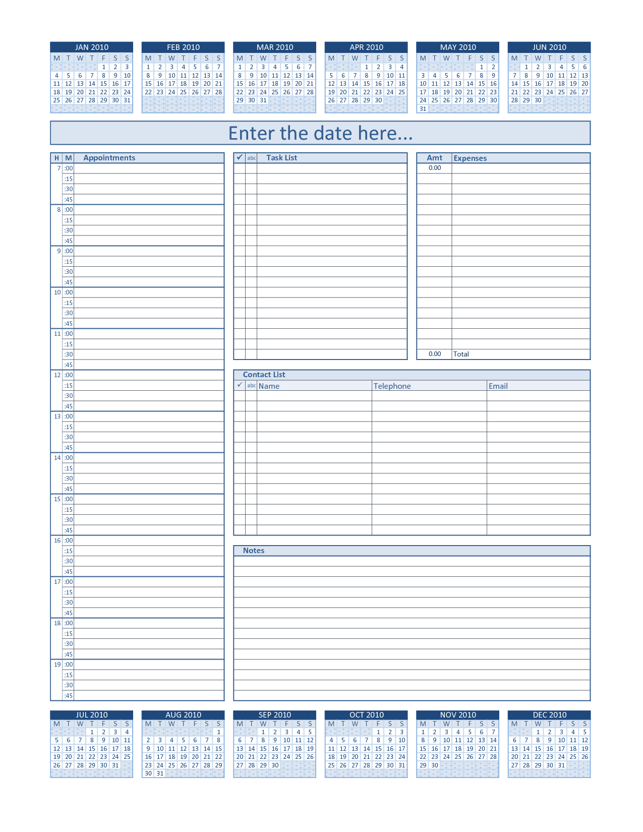 Daily Project Organizer Templates Free | Daily Planner For 2010 (blue) On Day To Day Planner Template Free