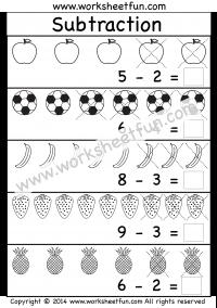 Beginner Subtraction - 5 Kindergarten Picture Subtraction ...