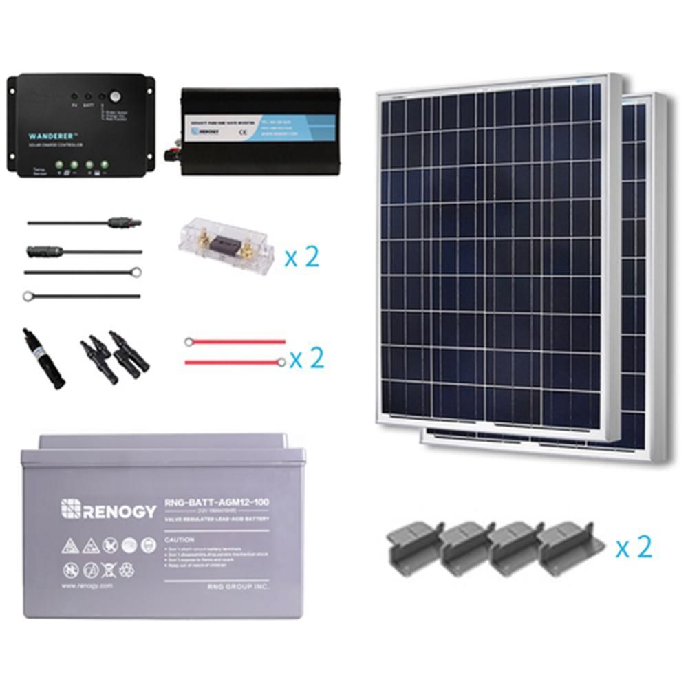 Renogy 200 Watt Starter Complete Solar Panel Kit Poly Off Grid Solar With Deep Cycle Agm Battery S200pw30 Ct Agm The Home Depot Solar Kit Solar Panel Kits Solar Panels