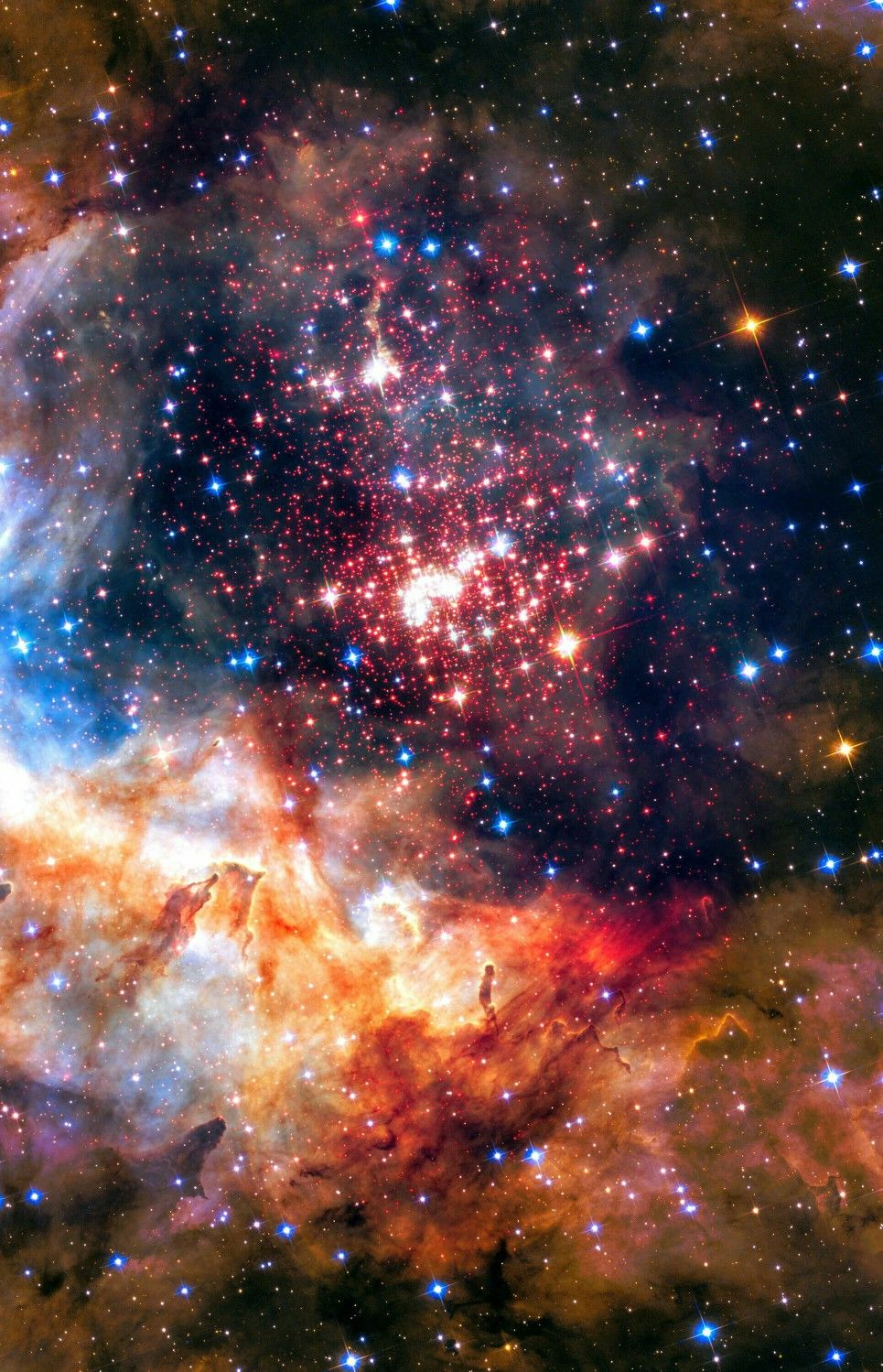 Westerlund 2 Cluster Taken By Hubble Galaxy Phone Wallpaper Galaxy Wallpaper Iphone Nebula Wallpaper