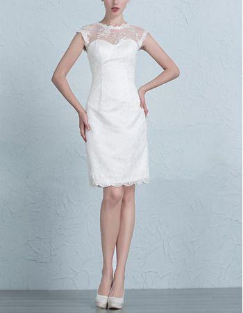 Beautiful Affordable Modern Sheath Mandarin Collar Short Bridal ...