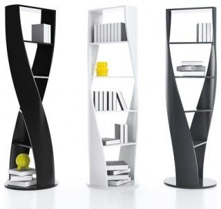 Coolest shelving! They remind me of DNA strands...