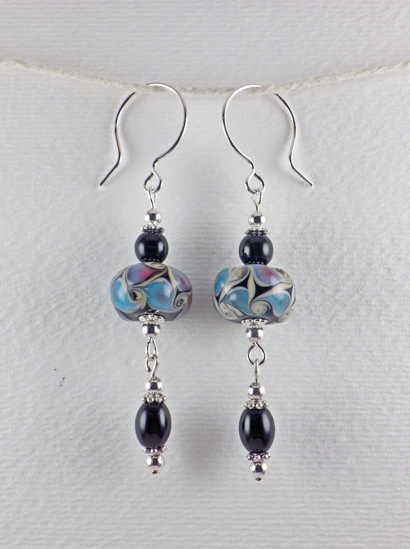 glass beads. Earrings boho silver