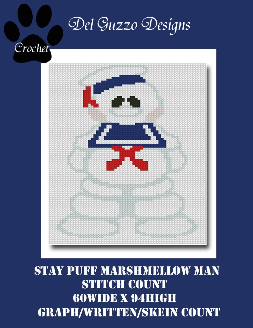 Ghostbusters Stay Puff Marshmellow Man Body Pillow Graph Crochet