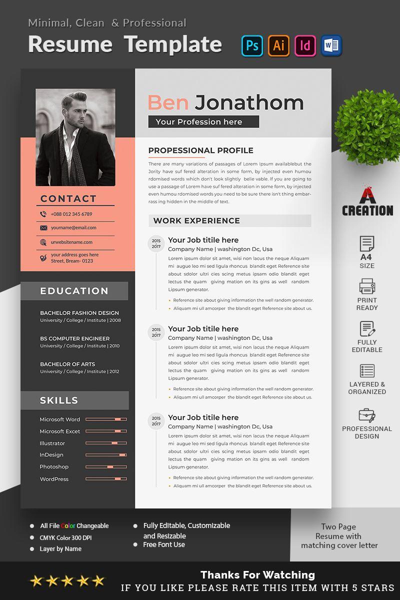 Ben Jonathon Editable Resume Template 95670 in 2020 (With
