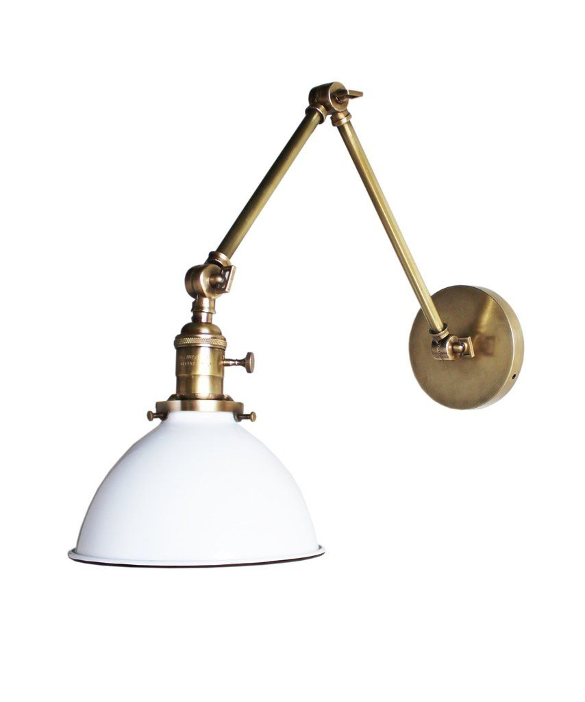 Jefferson double arm wall sconce with white enamel shade antique jefferson double arm wall sconce with white enamel shade antique brass amipublicfo Gallery