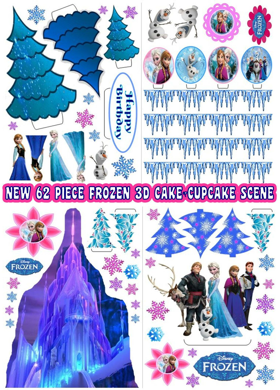 Details About Edible Disney Frozen Ice Castle Trees Stand